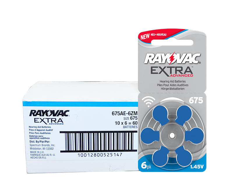 RAYOVAC Extra Size 675 Hearing Aid Batteries<br>Box of 60