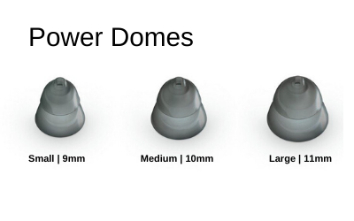 Phonak - Unitron Power (Double) Hearing Aid domes in Small, Medium, & Large Sizes.