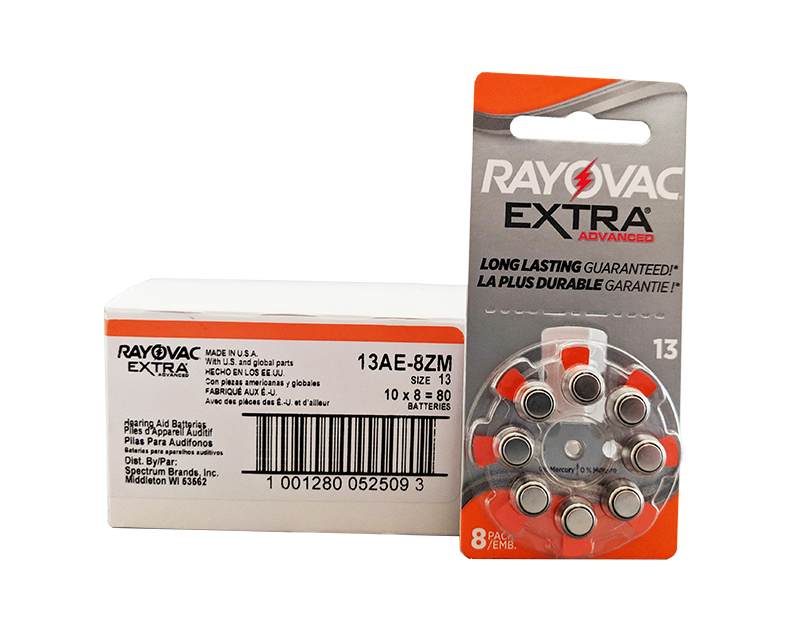 RAYOVAC Extra Size 13 Hearing Aid Batteries<br>Box of 80