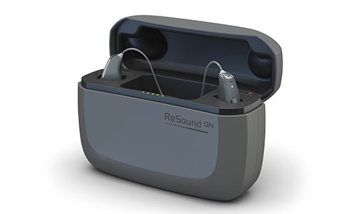 ReSound travel charger for hearing aids.