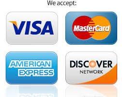 Visa MasterCard American Express and Discover
