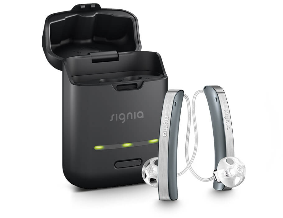 Styletto hearing aids with black charger case