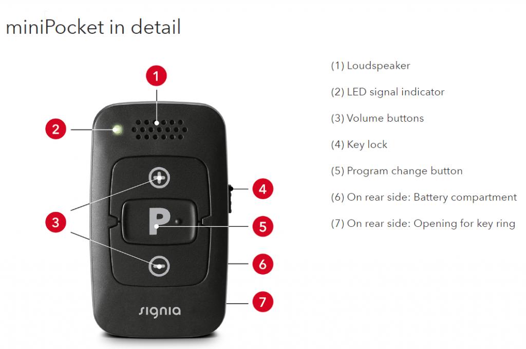Signia miniPocket hearing aid remote control