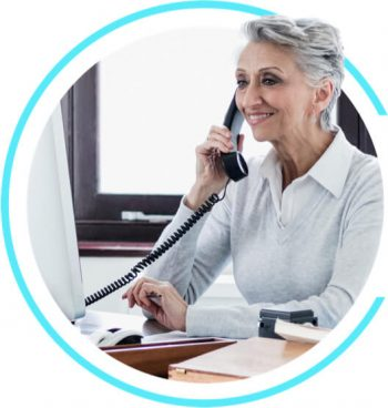 Office or business phone with hearing aids