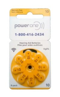 PowerOne Size 10 Hearing Aid Batteries<br>Box of 80