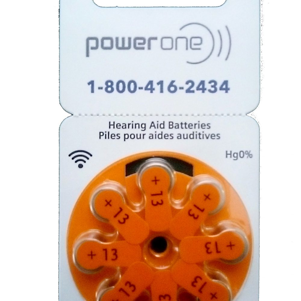Power One Size 13 Hearing Aid Batteries<br>Box of 80