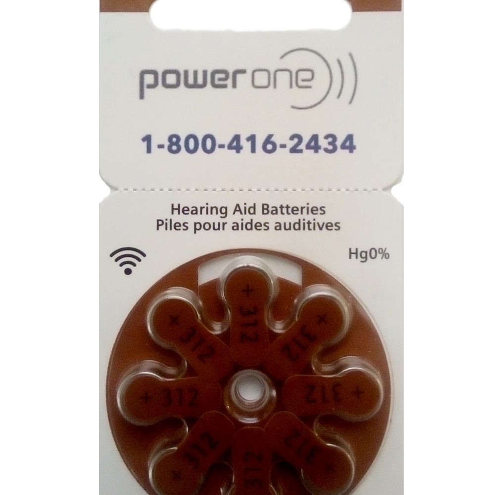 Power One Size 312 Hearing Aid Batteries<br>Box of 80