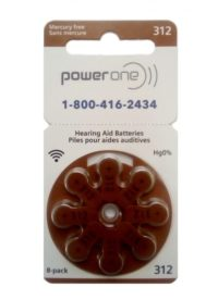 PowerOne Size 312 Hearing Aid Batteries<br>Box of 80