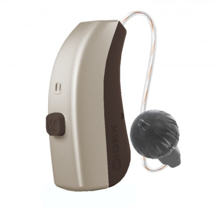 Widex Moment RIC 312D hearing aid in Summer Gold color.n