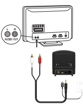 Connecting ReSound TV Streamer to the back of a TV