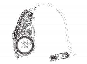 ReSound LiNX Quattro Hearing Aid Line Drawing.