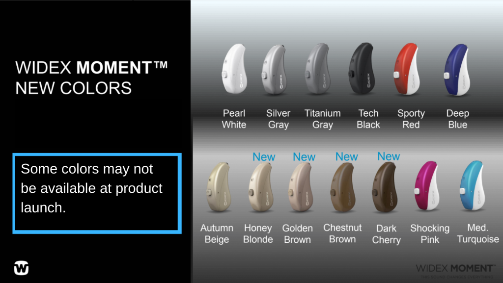 Widex Moment Hearing Aid Color Options.